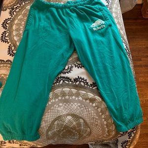 Roots cropped turquoise sweats